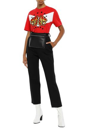 Sandro Woman AppliquéD Embroidered Cotton-Jersey T-Shirt Red
