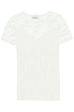 SANDRO Lace -paneled cotton-jersey T-shirt