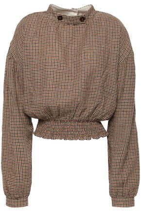 NANUSHKA Amara shirred button-embellished woven blouse