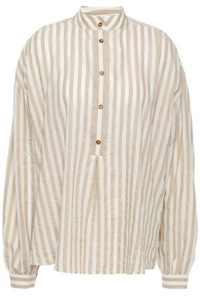 NANUSHKA Alka striped cotton and linen-blend shirt