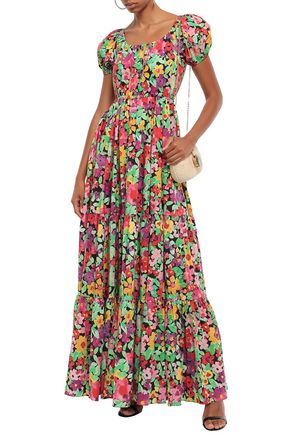 CAROLINE CONSTAS Bardot gathered floral-print stretch-cotton poplin maxi dress