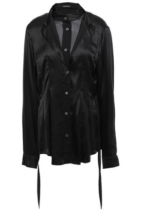 ANN DEMEULEMEESTER Layered silk-satin and georgette shirt