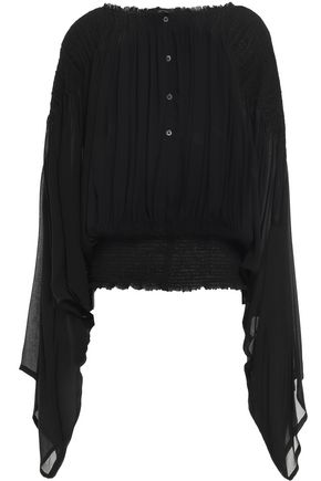 ANN DEMEULEMEESTER Draped gathered georgette blouse