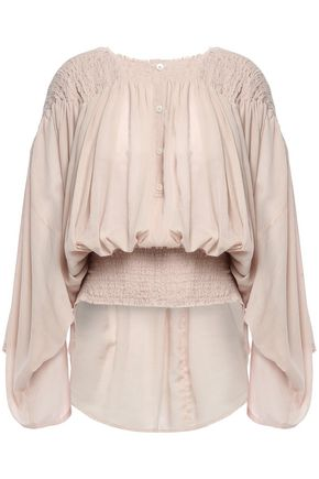 ANN DEMEULEMEESTER Shirred cotton and cashmere-blend gauze blouse