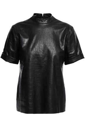 NANUSHKA Kaden croc-effect vegan leather top