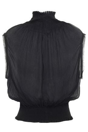 ANN DEMEULEMEESTER Shirred silk-georgette top