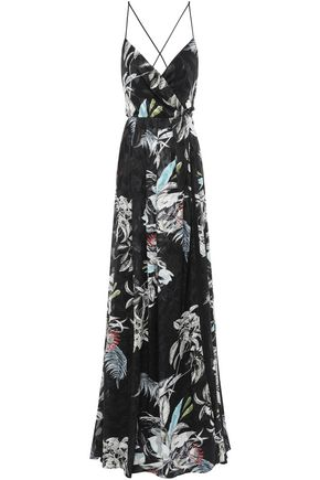 BLACK HALO EVE by LAUREL BERMAN Wrap-effect floral-print fil coupé gown