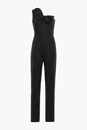 BLACK HALO EVE by LAUREL BERMAN Bow-detailed one-shoulder stretch-jersey jumpsuit