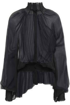 ANN DEMEULEMEESTER Asymmetric shirred silk-georgette blouse