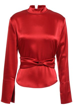 NANUSHKA Almond belted satin blouse