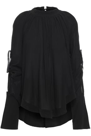 ANN DEMEULEMEESTER Open-back gathered silk-georgette blouse