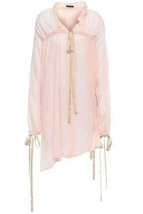 ANN DEMEULEMEESTER Bow-detailed cotton-gauze shirt