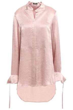 ANN DEMEULEMEESTER Pintucked crinkled-satin shirt