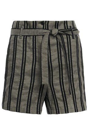 ANN DEMEULEMEESTER Cotton-blend striped twill shorts