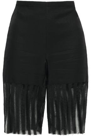ANN DEMEULEMEESTER Distressed gauze-paneled cotton-blend twill shorts