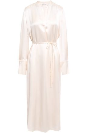VINCE. Silk-satin midi shirt dress