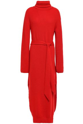 NANUSHKA Canaan belted ribbed-knit turtleneck maxi dress