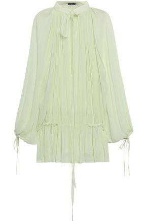 ANN DEMEULEMEESTER Tie-neck ruffle-trimmed silk-georgette blouse