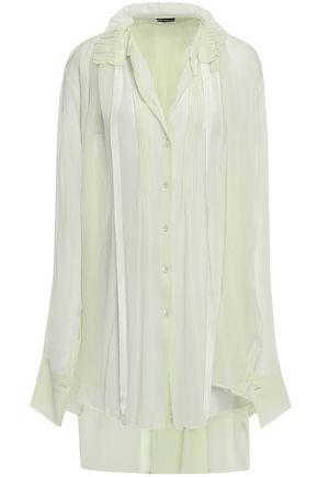 ANN DEMEULEMEESTER Ruffle-trimmed crinkled silk-georgette shirt