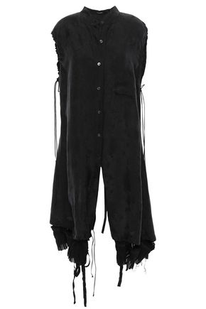 ANN DEMEULEMEESTER Lace-up jacquard top