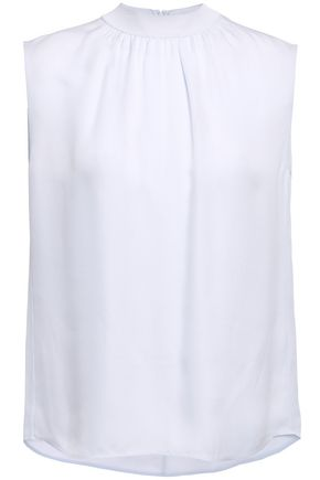 VINCE. Gathered silk-crepe blouse