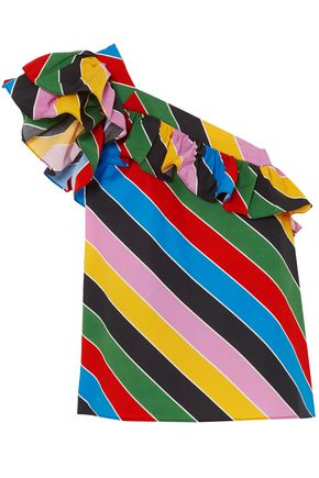 PHILOSOPHY di LORENZO SERAFINI One-shoulder striped cotton-poplin top