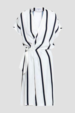 EQUIPMENT Leonce striped washed-twill wrap dress