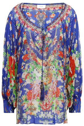 CAMILLA Playing Koi crystal-embellished printed silk-georgette blouse