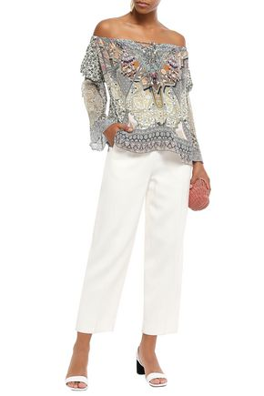 Camilla Tops CAMILLA WOMAN OFF-THE-SHOULDER GEORGETTE-PANELED PRINTED SILK CREPE DE CHINE TOP MULTICOLOR