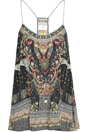 CAMILLA Behind Closed Doors crystal-embellished silk crepe de chine camisole