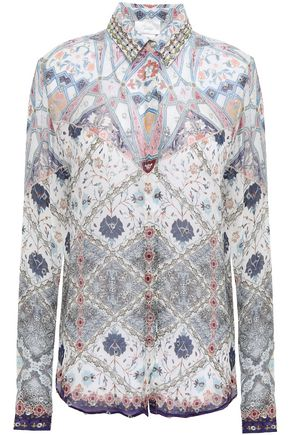 CAMILLA Benny's Blessing crystal-embellished silk crepe de chine shirt