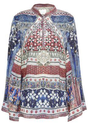 CAMILLA Overnight Bag crystal-embellished silk-jacquard blouse