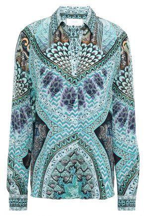 CAMILLA Benny's Blessing crystal-embellished silk crepe de chine shirt