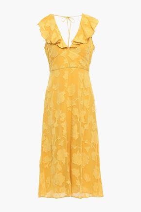 JOIE فستان من قماش جورجيت مخيط بأسلوب فيل كوبيه ومزين بالكشكش