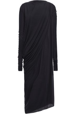 RICK OWENS Asymmetric draped jersey midi dress