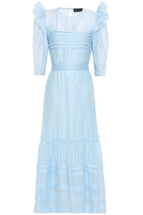 ANNA OCTOBER Ruffled crepe de chine maxi dress