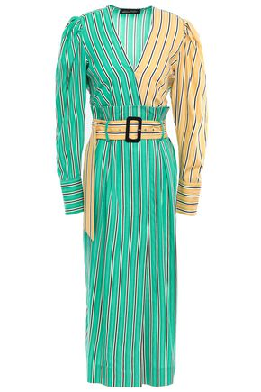 ANNA OCTOBER Belted striped cotton-jacquard midi dress
