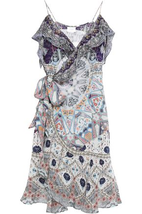 CAMILLA Tales Of Tatiana crystal-embellished silk crepe de chine mini wrap dress