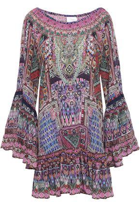 CAMILLA The Creator ruffled crystal-embellished silk crepe de chine mini dress