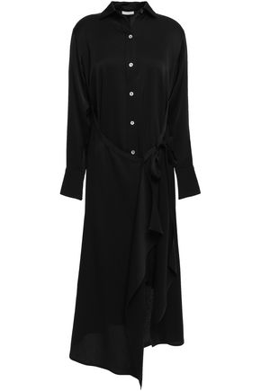 VINCE. Layered satin-crepe midi shirt dress