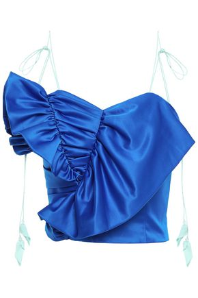 ANNA OCTOBER Ruffled ruched satin top