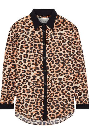 NOVIS The Simone leopard-print stretch-silk crepe de chine shirt
