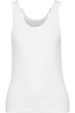 HELMUT LANG Distressed ribbed cotton-jersey tank