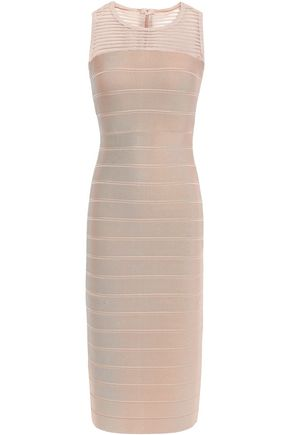 HERVÉ LÉGER Tulle paneled bandage dress