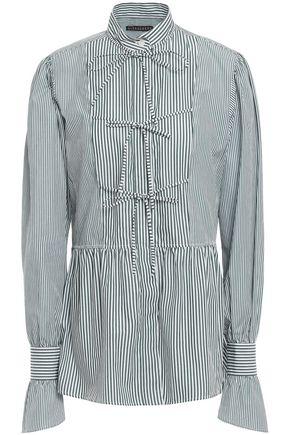 ALEXACHUNG Bow-detailed striped cotton-poplin shirt