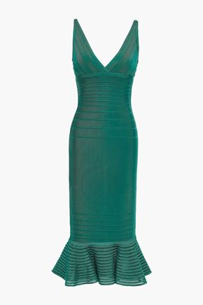 HERVÉ LÉGER Fluted tulle-paneled bandage dress