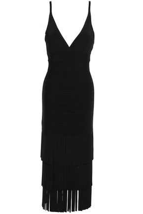 HERVÉ LÉGER Fringed bandage midi dress