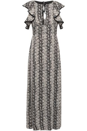 ALEXACHUNG Ruffled snake-print satin maxi dress