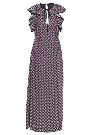 ALEXACHUNG Ruffled floral-jacquard maxi dress