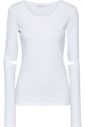HELMUT LANG Cutout ribbed cotton-jersey top